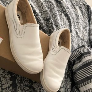 White UGG slip-on leather sneakers